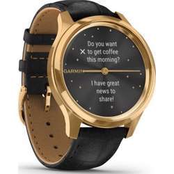 Garmin Vivomove Luxe 24K Gold Pvd Stainless Steel Case With Black Embossed Italian Leather Band Smartwatch - Gold/Black