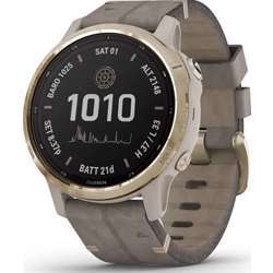 Garmin Fenix 6S Pro Solar Edition Smartwatch Light Gold With Shale Gray Suede Band - Gold/Grey