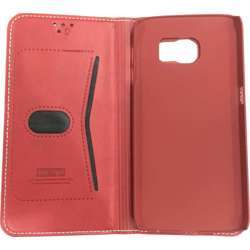 LEEU Samsung Galaxy S6 edge Wallet Style Leather Case Red