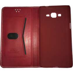 LEEU Samsung Galaxy Grand Prime Wallet Style Leather Case Red