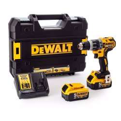 Dewalt Cordless Hammer Drill with 2 5.0 Ah Batteries, Yellow/Black, Dcd796P2-Gb
