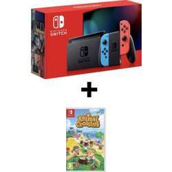 Nintendo Switch Console With Improved Battery and Neon Joy-Con + Animal Crossing: New Horizon For Switch - Red & Blue