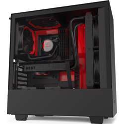 NZXT H510I Compact Atx Mid Tower Pc Gaming Case Front I/O Usb Type-C Port Vertical Gpu Mount Tempered Glass Side Panel Integrated Rgb Lighting Water-Cooling Ready Black Red