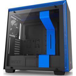 NZXT H700 E-Atx Mid Tower - Tempered Glass Window - Compact Pc Gaming Case - Matte Black/Blue