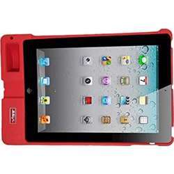 """Vibe Slick Base Tablet Workstation, Rugged Case, Sound Booster, For Typing, Surfing, Compatible With Ipad 9.7"""" Tablets - Non-Slip High-Quality Durable Silicone Rubber Case - Red"""
