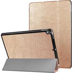 YPshell Pad Case Cover for For iPad Pro 10.5 inch PU Litchi Texture 3-folding Smart Case Clear Back Cover with Holder Black - Gold