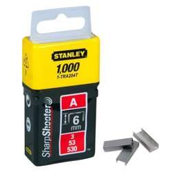 Stanley 1-TRA204TBT Type A Staples, Silver, 6 mm, Set of 1000 Pieces