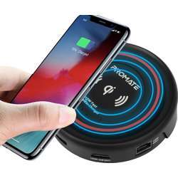 Promate Usb C Hub With Qi Wireless Charger, Usb Type-C Docking Station With 100W Type-C Power Delivery, Hdmi 4K, Dual Usb Port, Ethernet Port And Detachable Qi Wireless Charging Pad, Centerhub